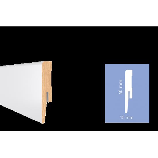 Білий глянцевий МДФ плінтус Arbiton DIAMOND GP0601 60x15x2420 мм