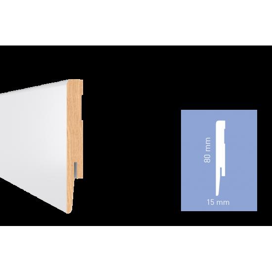 Білий глянцевий МДФ плінтус Arbiton DIAMOND GP0801 80x15x2420 мм