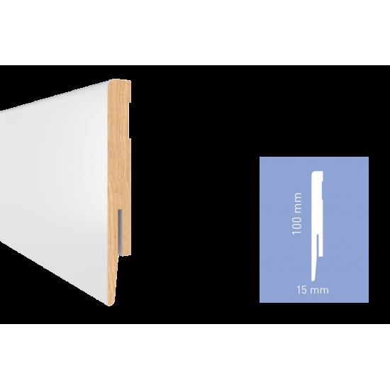 Білий глянцевий МДФ плінтус Arbiton DIAMOND GP1001 100x15x2420 мм